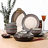 WECDS Piatti Ciotola Set di Stoviglie in Ceramica, Piatto da Pranzo in Porcellana Vintage a Pois da 31 Pezzi, Ciotola, Cucchiaio, Set di Stoviglie