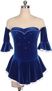 Spettacolo di danza del ghiaccio Body Costume di pattinaggio artistico a mano Blu Vestito di pattinaggio a rotelle arricciato a mezza manica con cristalli Abito pattinaggio di figura per ragazze