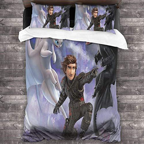 3-teiliges Bettwäsche-Set, 218 x 177 cm, How to Tr-Ain Your Dra-Gon, tragbares Bettwäsche-Set und Sammlungen mit 2 bunten Kissenbezügen, 3D-Druck, für Jungen-Gästezimmer