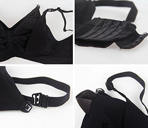 Herenear 授乳ブラジャー マタニティブラジャー 妊婦 産後 矯正下着 ープン ノンワイヤー ブラジャー 3枚セット XL, ピンク+ベージュ+ブラック