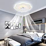 IYUNXI Led Ceiling Fan with Lights 72W 20 Inch Low Profile Ceiling Fan Remote Flower Shape Dimmable Color Acrylic Ceiling Fan Light Adjustable Speed Flush Mount Modern Ceiling Fan Fixture for Bedroom