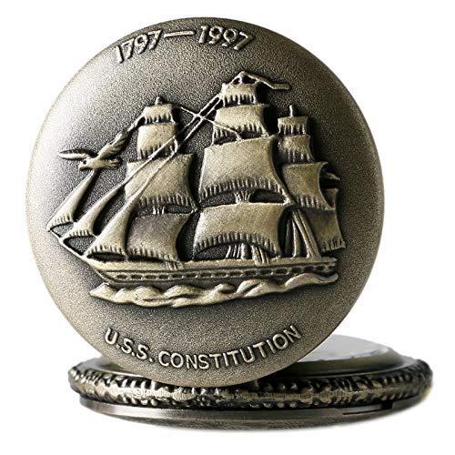 LXDDP Reloj de Bolsillo Vintage, velero, Relojes de Cuarzo de Bronce para Marinero, Reloj de Hombre, Collar, Cadena, Relogio De Bolso