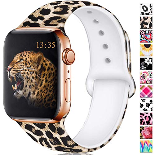 Haveda Leopard Bands Compatible for Apple Watch Series 5 Series 4 40mm, Soft Cheetah Pattern Band for Apple Watch 38mm Women Printed Silicone Sport Wristbands for iWatch Series 3 2/1, M/L, Leopard