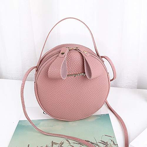 weichuang Kosmetiktasche, kleine runde Tasche, einzelne Schultertasche, für Handy, Damen, Umhängetasche, Kuriertasche, Make-up-Tasche (Farbe: Rosa)