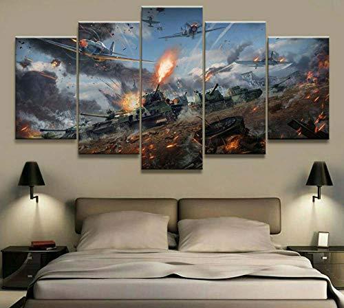 KOPASD Arts – 5 Piezas de Lienzo de Arte de Pared Tanques Cuadros de Lienzo Moderno Giclée para decoración del hogar (tamaño Grande 200 x 100 cm)