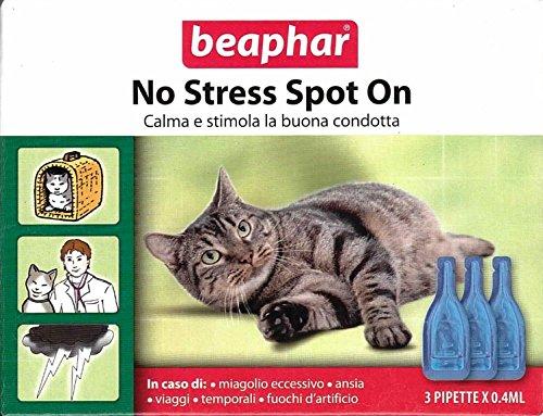 Beaphar No Stress Spot On Beruhigungsmittel für Haustiere, 3Flakons mit je 0,4ml, ideal für den Urlaub,100% natürlich, mit Baldrian