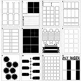 12 Pezzi Stencil di Diario DIY Stencil Griglia Modelli Pianificatore Layout Settimanali Set Pianificatore in Plastica per Diario de Taccuino DIY (A5)