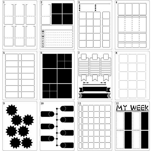 12 Stücke A5 Journal Schablonen DIY Vorlagen Planer Wöchentlich Layout Gitter Schablonen Kunststoff Planer Set für DIY Notizbuch Tagebuch