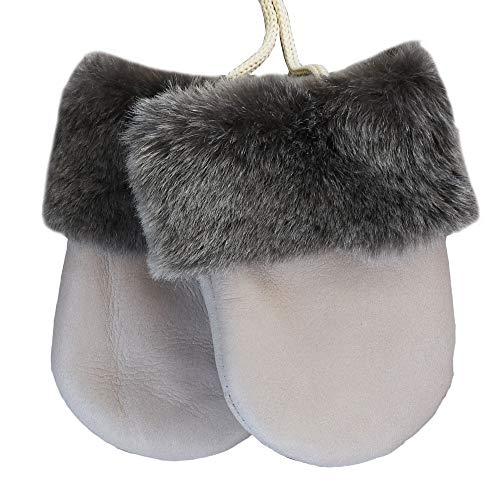SamWo - Guanti per bambini in vera pelliccia di agnello, morbidi e caldi, prodotto naturale, per bambini da 0 a 1 anno e mezzo, colore: tortora (grigio chiaro-beige)