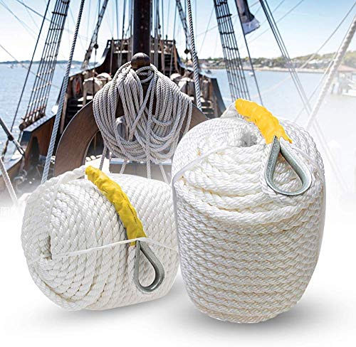 Solid Braid Anchor Line with Thimble 3/8 in x 100Ft 3 Strand Twisted Braid Anchor/Rigging Line Heavy Duty Polypropylene Boat Dock Lines Rope for Boat Sailboat Mooring, Docking, Towing(White)