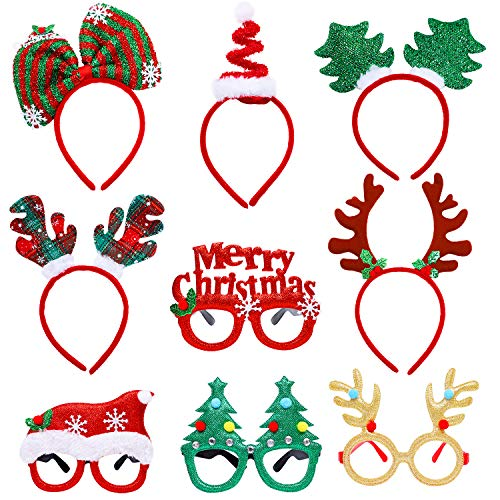 Aneco 9 Pieces Christmas Headbands Xmas Glasses Frames Christmas Costume Headwear Accessory for Christmas Party Favor