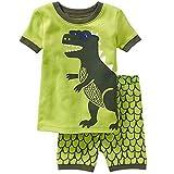 Conjunto de Pijama para niños Ropa de Dormir de algodón para niños Niño Verano 2 Piezas Pantalones Cortos de Pijama Patrón de Dinosaurio por 7-8 años