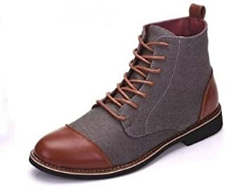 Dr. Martin Unisex Boots Large size men's leather boots trend tooling ankle boots casual wear-resistant short boots mid-top trend men's shoes personalized casual leather boots (Color : D, Size : 48)