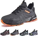 SUADEX Zapatos de Seguridad Hombre Mujer, Punta de Acero Zapatillas de Seguridad Hombre Trabajo, Ligero Respirable Calzado de Trabajo Unisex (Gris Naranja,43EU)