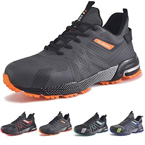 SUADEX Sicherheitsschuhe Arbeitsschuhe Herren Leicht Sportlich Atmungsaktiv Schutzschuhe Stahlkappe Schuhe (Grau Orange,46EU)