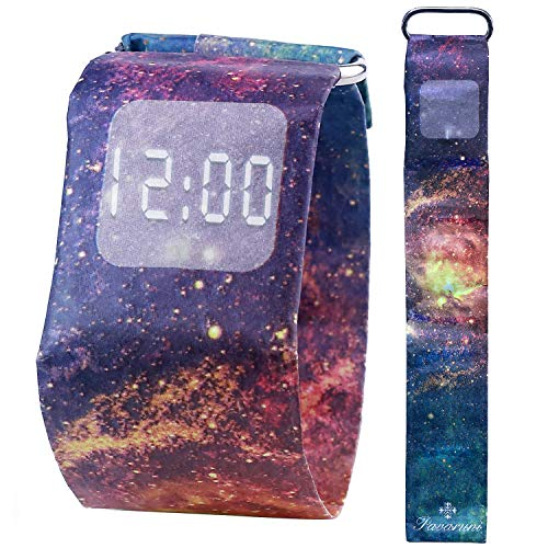 Pavaruni - Papier-Armbanduhr aus wasserdichtem Tyvek-Material - Digitale Anzeige - handgefertigt Familie und Freunde - in Holzbox (Geheimnisvolle Galaxie)