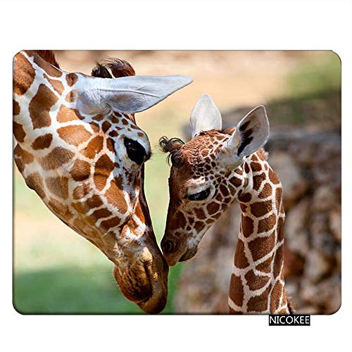 Nicokee Giraffe Gaming Mousepad Lovely Giraffe Mom and Baby Mouse Pad Rectangle Mouse Mat for Computer Desk Laptop Office 9.5 X 7.9 Inch Non-Slip Rubber