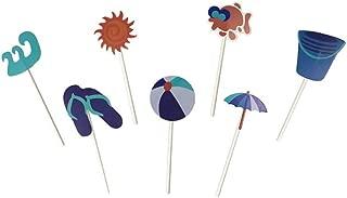 Fun DIY Summer Beach Ball Sun Umbrella Slippers Cake Cupcakes Toppers for Birthday Wedding Pool Hawaiian Beach Party Decorations 28 Counts