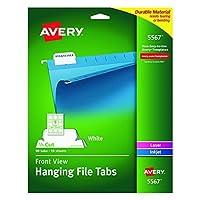 Avery Self-Adhesive Printable Hanging File Tabs Laser/Inkjet 1/5 Cut White Pack of 90 (5567) 【Creative Arts】 [並行輸入品]