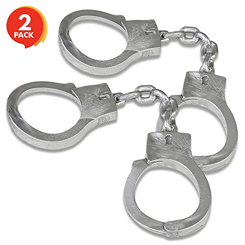 ArtCreativity 10.5 Inch Stretchy Handcuffs - Pack of 2 - Elastic Pretend Play Toy Handcuffs - Flexible Kiddie Handcuffs - Party Favor, Stage or Costume Prop, Goody Bag Filler, Gift for Boys and Girls
