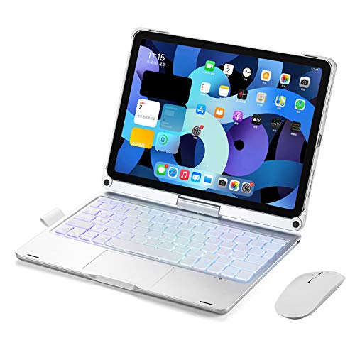 Keyboard Case for Ipad Air 4 2020, Ipad Pro 11 Inch 2nd 2020, Ipad Pro 11 Inch 1St 2018 Trackpad Keyboard with Pencil Holder and Backlits, 360 Rotation,Silver