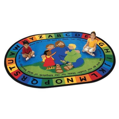 "Carpets for Kids 72007 Jesus Loves the Little Children Carpet-8' x 12' 8' x, 7'8"" x 10'10"", Multicolored"