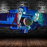 13Tdfc Cuadro En Lienzo, Imagen Impresión, Pintura Decoración, Canvas De 5 Pieza, 150X80 Cm,Pesadilla Antes De Navidad Jack Skellington Mural Moderno Decor Hogareña