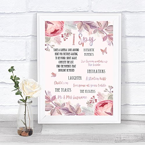 Blush Rose Goud & Lila Ik Spy Wegwerp Camera Gepersonaliseerde Bruiloft Teken Print Framed White Small