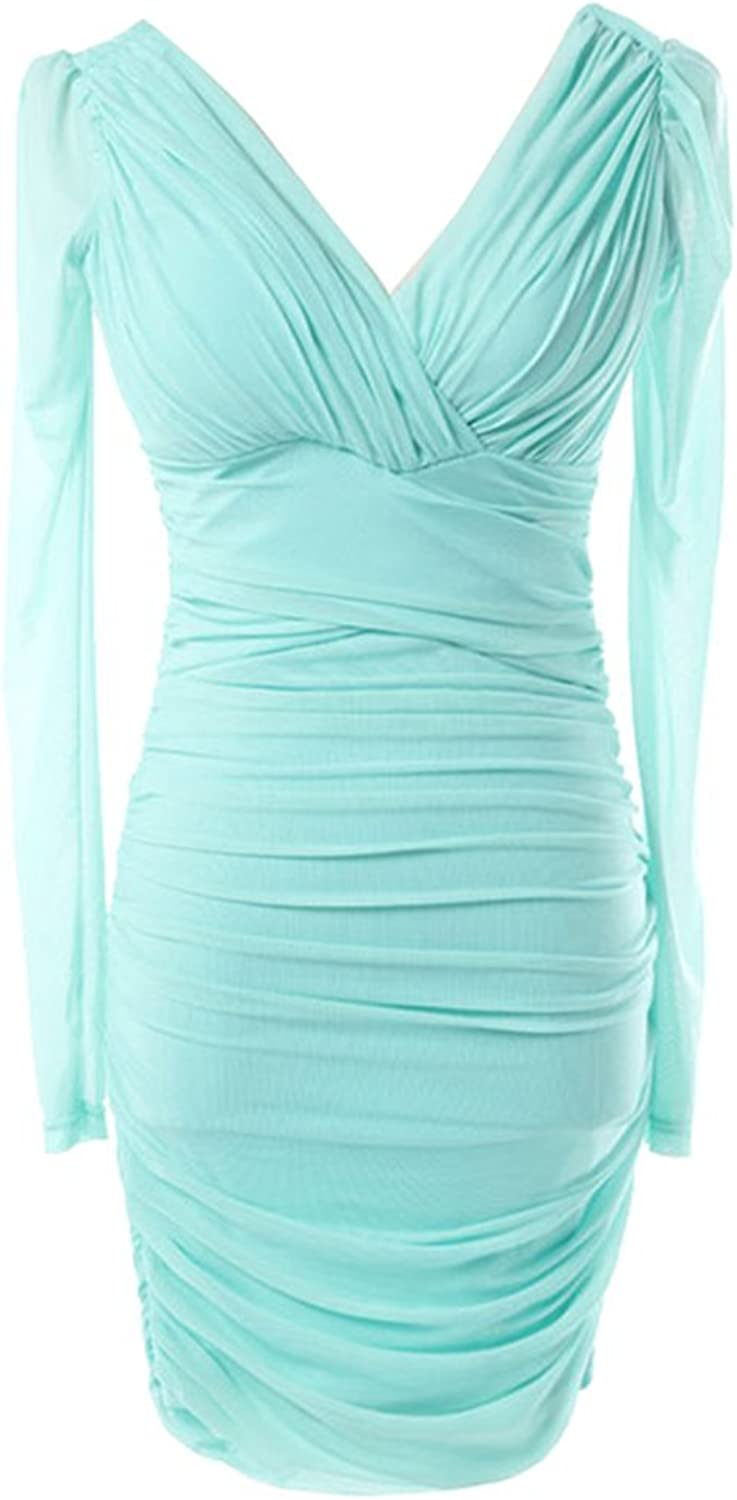 Drasawee Women's Long Sleeve Bodycon Short Evening Party Cocktail Dress Mint