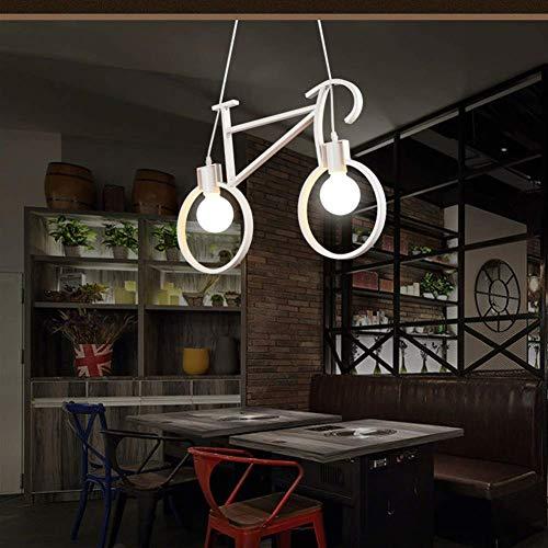 Industrielle Pendelleuchte Kreative Fahrrad Pendelleuchte Kinderlampe Höhenverstellbar 2 E27 Moderne Metall Hängelampe für Kinderzimmer Schlafzimmer Esszimmer Wohnzimmer [Energieklasse A ++]