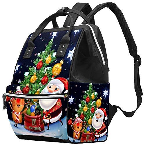 LORVIES 2019 New Year & Merry Christmas Wickeltasche, Windelrucksack mit isolierten Taschen, Kinderwagenriemen, große Kapazität, multifunktionale, stilvolle Wickeltasche für Mama Papa Outdoor