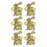 Timagebreze Portatovaglioli Coniglietto Pasquale Portatovaglioli con Coniglio Set di 6 per La Decorazione della Tavola Primaverile della Cena del Banchetto della Festa di Pasqua