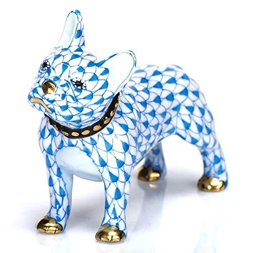 Herend Puppy Dog Frenchie Porcelain Figurine Blue Fishnet