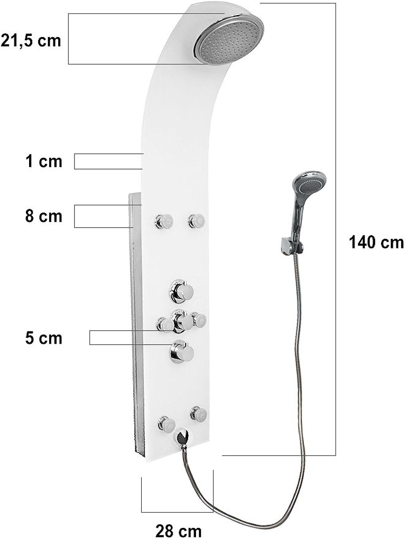 Grafner Design Luxus Edelstahl Duschpanel Duschsule Regendusche Brausegarnitur Wellnessdusche weiss wei