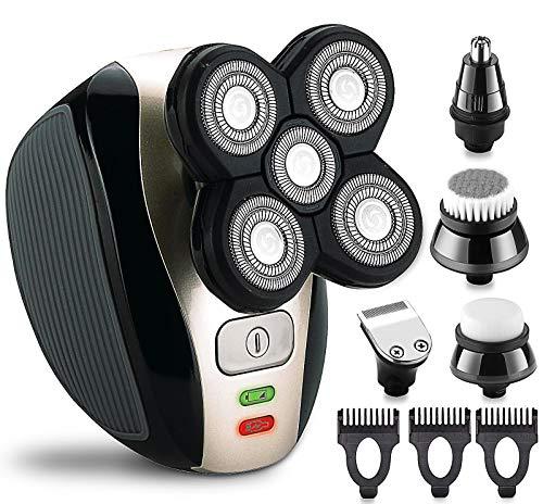 Elektrorasierer Rasierer 5 in 1 USB wiederaufladbare IPX7 wasserdichte Haar Bartschneider Rasiermaschine mit 4D Floating 5 Rasiermesser Nasen Ohrschneider und Gesichtsreinigungsbürste Herrenpflege-Kit