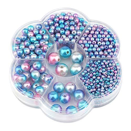 TOYMIS 1150pcs 3/4/5/6/8/10/12 Mm Perlas De Imitación De Degradado De Colores Oscuros Perlas Espaciadoras Sueltas Redondas Para Manualidades Diy Collares Pulseras Pendientes Anillos