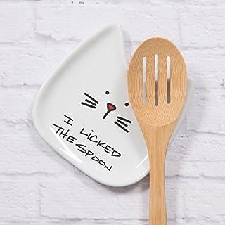 """عروض Pavilion Gift Company Blobby Cat, Cat Spoon Rest""""I Licked the Spoon"""", 5"""", White"""