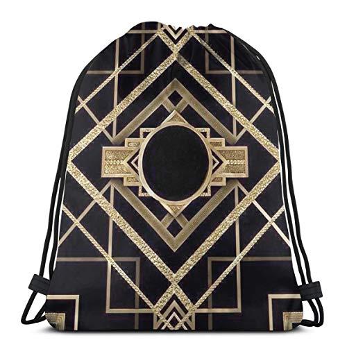 Lilyo-ltd Art Deco, Vintage, Era, The Great Gatsby, Gold, Schwarz, Muster, Kordelzug, Rucksack für Damen und Herren