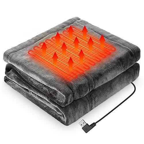 電気毛布 LIUDU ひざ掛け毛布 電気ブランケット USBブランケット150cmx80cm フランネル素材 暖かい 3段階温度調整 肩掛け 膝掛け テント泊用 おしゃれ電気毛布 洗濯可 丸洗い 防寒対策 暖房器具 (ダークグレー)