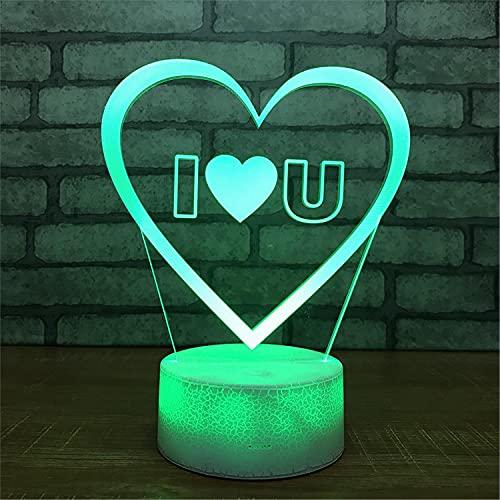 SLJZD luz de noche Lámpara De Noche Acrílica 3D Con Patrón De Amor, Multicolor Para Decoración De Fiestas, Lámpara De Noche Led De 7 Colores, Regalo De Vacaciones Para Niño Con Control Remoto