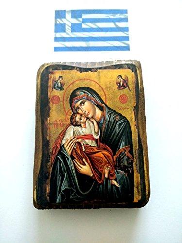 Holzikone von Mutter von der Jungfrau Maria und Jesus Christus, griechisch, christlich, orthodox, A0