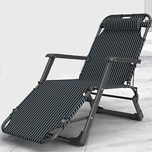 KATUEF Foldable Zero-Gravity Leisure Camping Chair Recliner, Adjustable Garden Outdoor Terrace Sun Lounger, Office Rest Chair with headrest, can Hold up to 150kg, excluding Cotton pad (Color : Black)