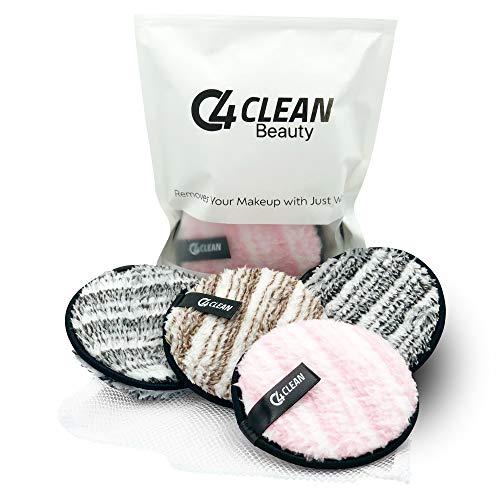 4Clean Waschbare Abschminkpads I Wiederverwendbare Mikrofaser Abschminktücher I 6 Kosmetikpads zum Makeup entfernen I Umweltfreundlich & Nachhaltig inkl. Waschnetz