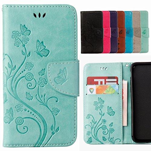 Yiizy Handyhülle für Wiko Rainbow Jam 4G Hülle, Blumen Erleichterung Entwurf PU Ledertasche Beutel Tasche Leder Haut Schale Skin Schutzhülle Cover Stehen Kartenhalter Stil Schutz (Grün)