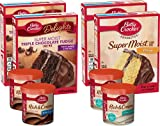 CAKE MIX VARIETY BUNDLE: The bundle contains 2 (two) 15.25 oz boxes of Betty Crocker Chocolate Cake Mix, 2 (two) 15.25 oz boxes of Yellow Cake Mix, 2 (two) 16 oz Milk Chocolate Frostings, and 2 (two) 16 oz Cream Cheese Frostings QUICK AND EASY BAKIN...