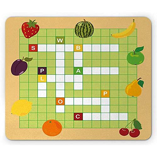 Woord zoeken puzzel muis pad, levendige grafische zomer fruit met educatieve kruiswoordraadsel spel compositie antislip rubber muismat