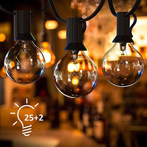 Outdoor Lichterketten, 48FT wasserdichte LED-Lichterkette 25 Hängesockel Edison Vintage Bulbs 2700K Weiche weiße Lichterkette Hochleistungs-dekorative Terrassenleuchten für Backyard Bistro Party