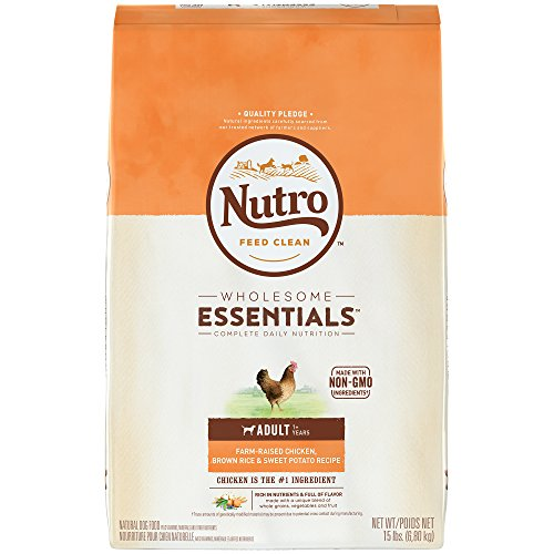 NUTRO WHOLESOME ESSENTIALS Natural Adult Dry Dog Food Farm-Raised Chicken, Brown Rice & Sweet Potato Recipe, 15 lb. Bag