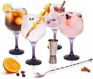 Stylehome Set Gin Tonic con 4 Copas de Balón, 1 Vaso Dosificador, 1 Cuchara Mezcladora y Recetario