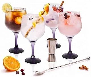 Stylehome Set Gin Tonic con 4 Copas de Balón, 1 Vaso